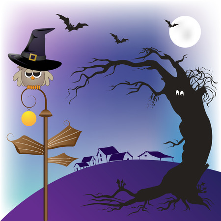 horror castle: Halloween owl