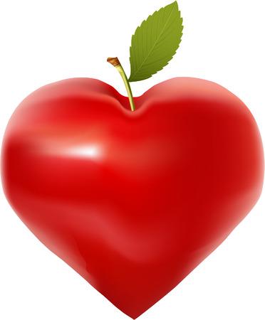 corazón de manzana  Ilustración de vector