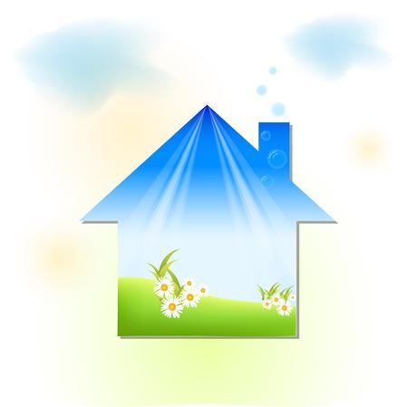 droomhuis: groen huis Stock Illustratie