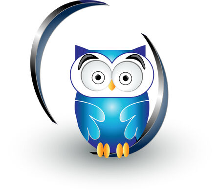 clever: cute blue owl