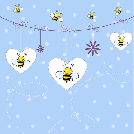 abeilles: arri�re-plan avec des abeilles  Illustration