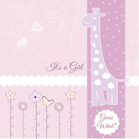 baby girl announcement Stock Vector - 7284930