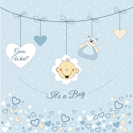 pastel colored: Baby boy announcement Illustration