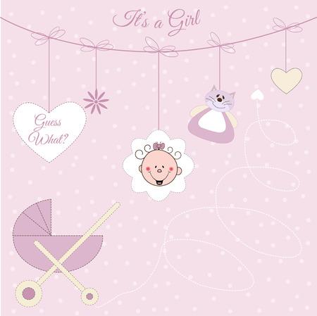 Baby girl announcement Stock Vector - 7284918