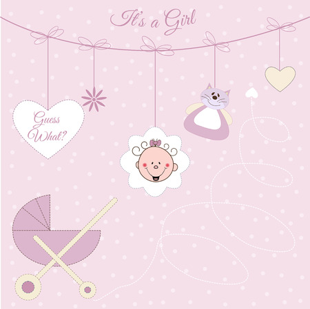 pastel colored: Baby girl announcement