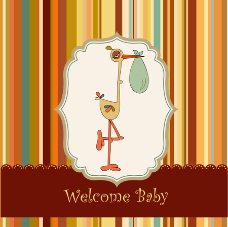 kitchen shower: welcome baby card with stork  Illustration