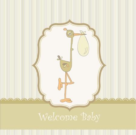 guests: tarjeta de bienvenida beb� con cig�e�a