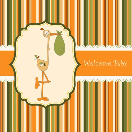 welcome baby card with stork  Vector