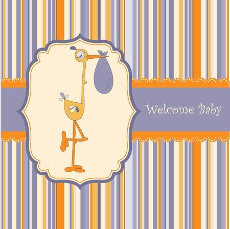 cigue�a: tarjeta de bienvenida beb� con cig�e�a