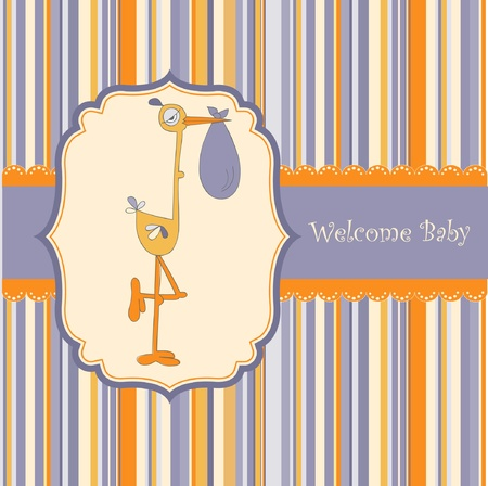 welcome baby card with stork  Stock Vector - 9118313