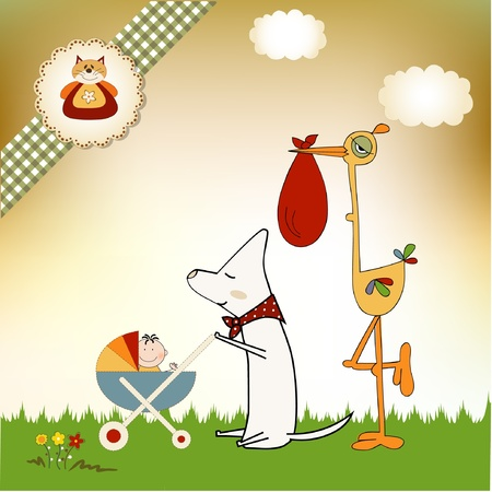 strip a dog: welcome baby card with stork  Illustration