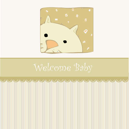 Birth card announcement with cat Stock Vector - 9168184
