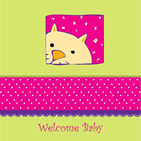Birth card announcement with cat Vector
