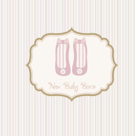 baby shower card with shoes Stock Vector - 9168212