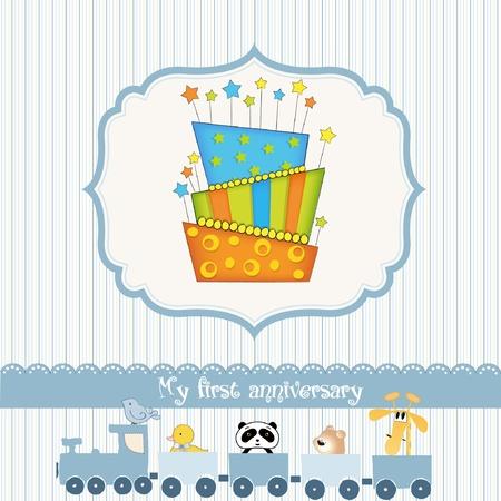 primeramente: tarjeta de cumplea�os de beb� con pastel  Vectores
