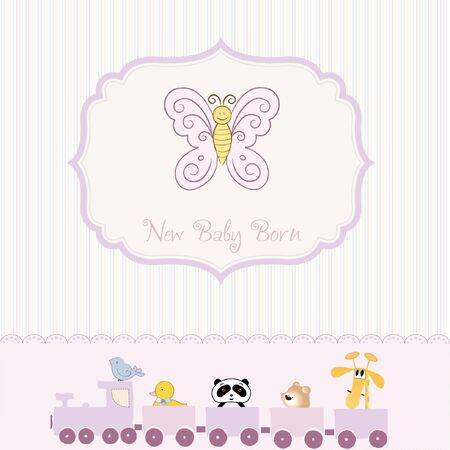 new baby born announcement card  Vector