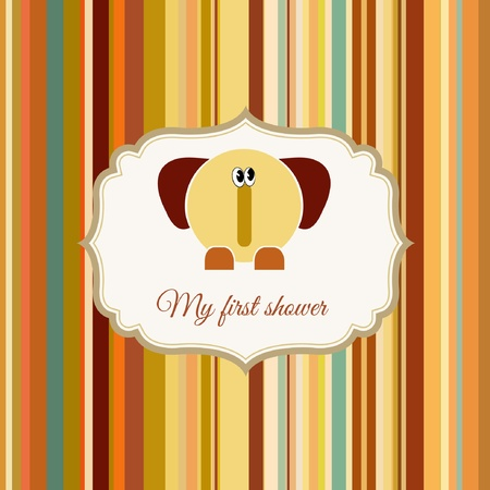 baby shower card with elephant Stock Vector - 9168277