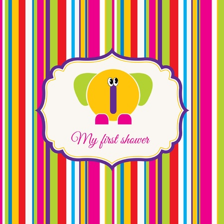 baby shower card with elephant Stock Vector - 9168278