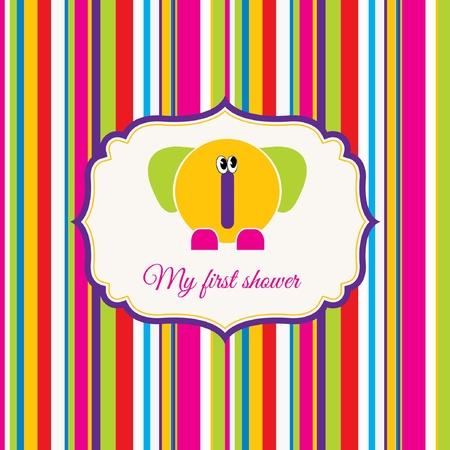 tarjeta de ducha de bebé con elefante