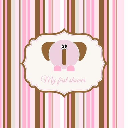 baby shower card with elephant Stock Vector - 9168275