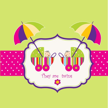 twins announcement card Stock Vector - 9168358