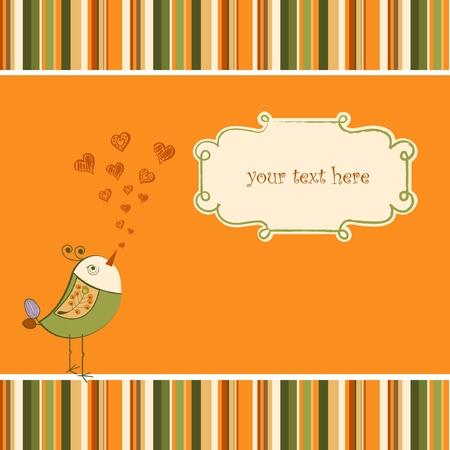 vintage children: cute love card with bird