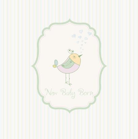 little bird: Anuncio de tarjeta de nacimiento con pajarito