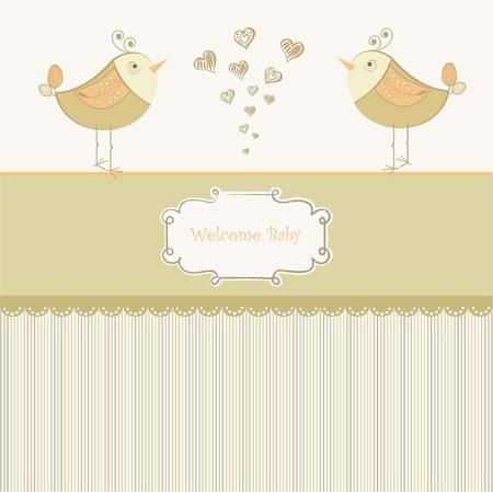 Birth card announcement with little bird  Stock Vector - 9168316