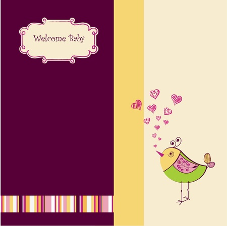 Birth card announcement with little bird  Vector