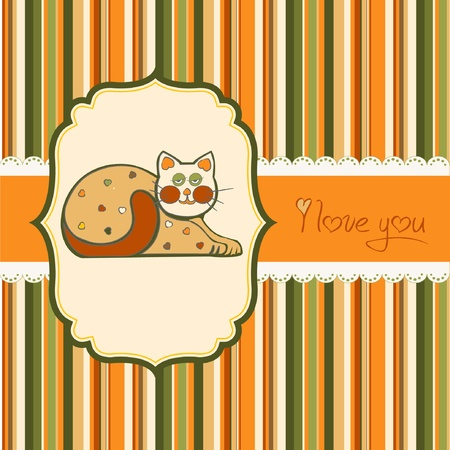 cute love card with cat  Vector