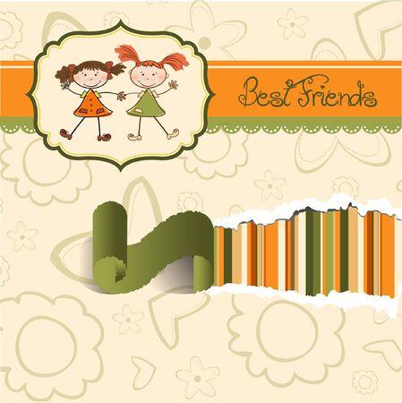 two little girls best friends Stock Vector - 9168383