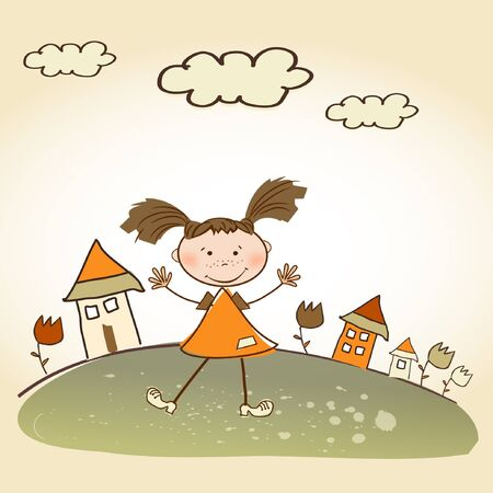happy little girl background Stock Vector - 9168364