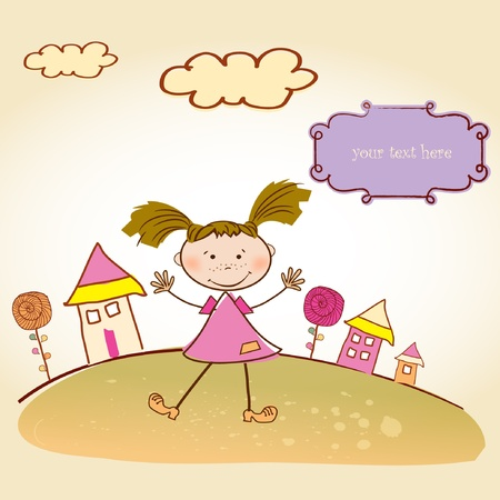 happy little girl background  Vector