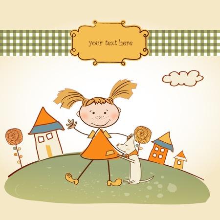 happy little girl background Stock Vector - 9168372
