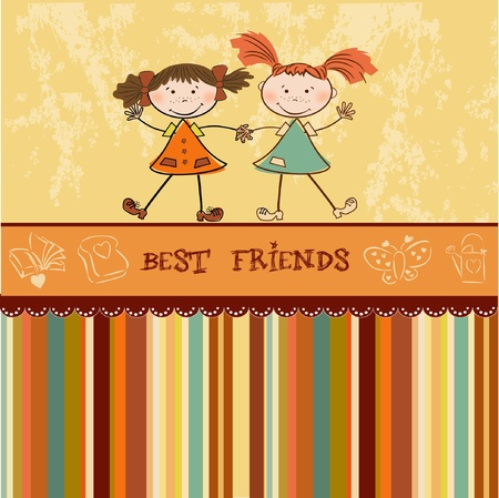two little girls best friends Stock Vector - 9168381
