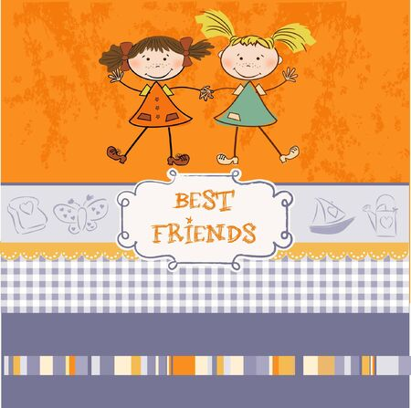 two little girls best friends Stock Vector - 9168382