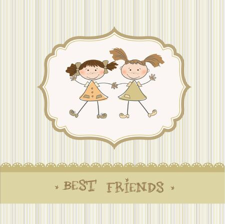 two little girls best friends  Stock Vector - 9168376