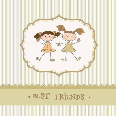 two little girls best friends Stock Vector - 9168376