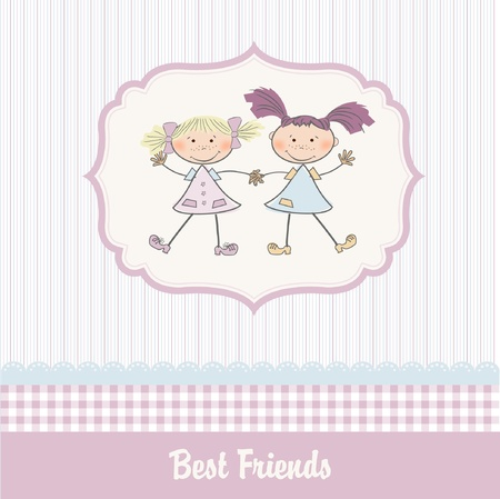 two little girls best friends Stock Vector - 9168371