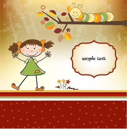 little girl with caterpillar Vector