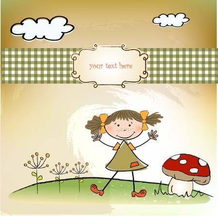 fun background with little girl Vector