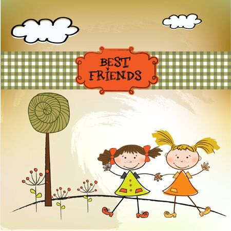 two little girls best friends  Stock Vector - 9305561