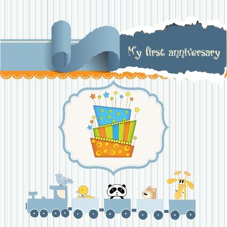 tarjeta de cumplea�os de beb� con pastel  Vectores