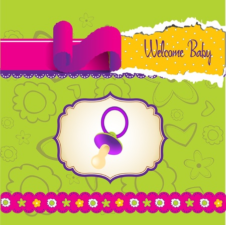 welcome baby announcement card Stock Vector - 9305558