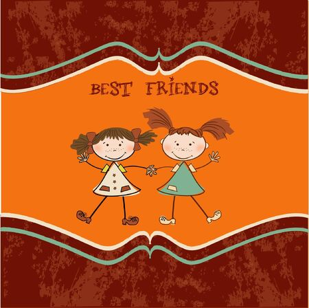 two little girls best friends Stock Vector - 9305548