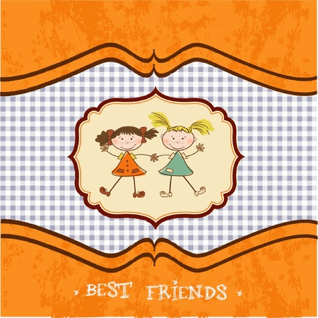 two little girls best friends Vector