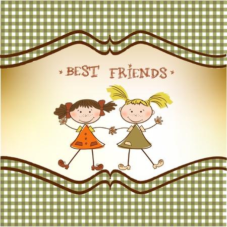 two little girls best friends Stock Vector - 9305547