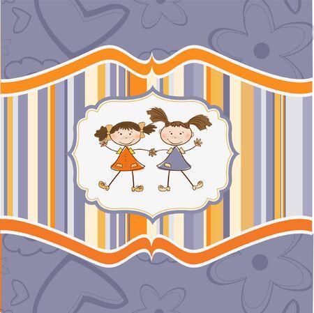 two little girls best friends Stock Vector - 9305546