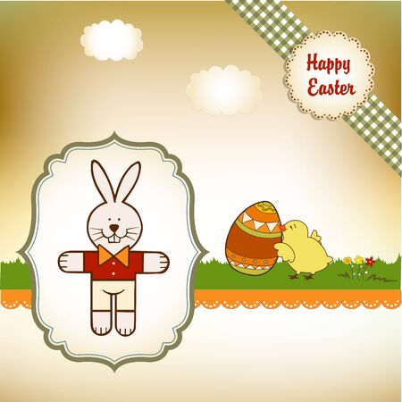 Easter greetings card with rabbit  Vector