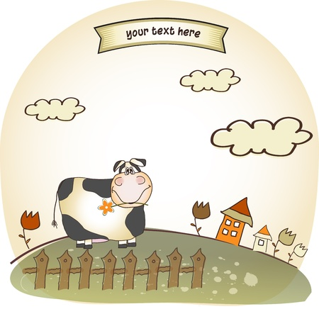 cute happy cow Stock Vector - 9329242